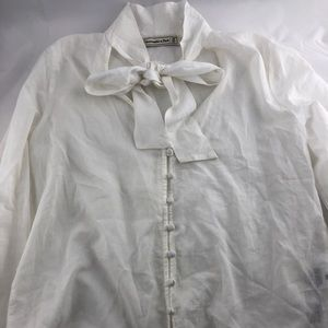 Abercrombie & Fitch White Buttom Up Tie Neck Shirt